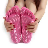 dedo do pé da ioga venda por atacado-Esportes de fitness yoga meias de cinco dedos anti-skid respirável escalada camping caminhadas correndo ciclismo yoga mulheres dispensar meias