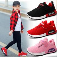 kaliteli dokuma toptan satış-2018 Bahar Çocuk Spor Ayakkabı Erkek Kız Kaliteli Rahat Siyah Kırmızı Pembe Renk Çocuklar Dokuma Açık Koşu Okul Sneaker Ayakkabı