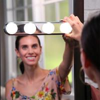 espejo de maquillaje batería al por mayor-STUDIO GLOW Super Brillante 4 Bombillas LED Espejo Cosmético Portátil Kit de Luz Batería Herramienta de Maquillaje Venta Caliente 19 5xt hh