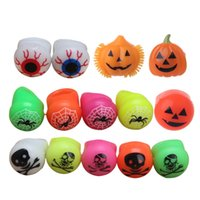 ingrosso giocattoli morbidi della gelatina-Soft LED Light Up lampeggiante Bulbo oculare Pumpkin Jelly Finger Ring Glow Light Halloween Toy Gift Party