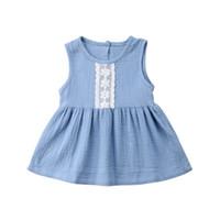 vestido de algodón bebé al por mayor-Vestido casual de lino de encaje de niña casual Vestido de verano sin mangas de algodón Vestido de niña
