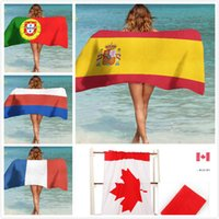 Wholesale swimming cups - 2018 World Cup Beach Towel Fans 140*75 Gu Tian Rabbit Cotton Personality Swimming Printing British Flag Towel Yoga Mat 8 Colors