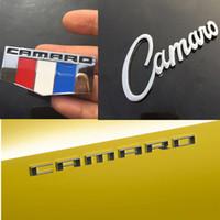 calcomanías chevrolet emblemas al por mayor-Para emblema de Chevrolet Camaro Corvette coche etiqueta de parachoque Carta 3D metal Fender neumáticos cola posterior del tronco del emblema de la etiqueta engomada