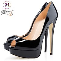 Wholesale White Shiny High Heels - 2018 Nude Color Fish Mouth 14cm Red Bottom High Heels Women Luxury Brand Black Patent Leather Platform Peep-toes Sandals Shiny Leather Shoes