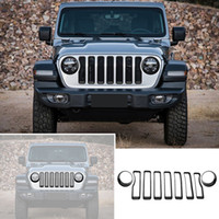 Wholesale grille cover trim for sale - Group buy Car Headlight Cover Trim And Front Mesh Grille Ring Decoration Fit Jeep Wrangler Car Accessories