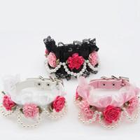 ingrosso merletto nero rosa perla-Fiori di lusso collare di cane di pizzo perle collare di animali domestici gatto cuoio nero rosa bianco regolabile collana ZA6363