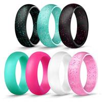 bandas flexibles al por mayor-Moda de silicona anillos de boda para las mujeres Glitter goma anillo de compromiso cómodo flexible delgado delgado duradero deportes al aire libre anillos