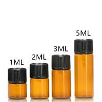 kahverengi fiş toptan satış-1 ml 2 ml 3 ml 5 ml Kahverengi Cam Uçucu Yağ Şişesi Parfüm Örnek Tüpler Temizle Şişe ile Yağ Depolama için Fiş ve Kapaklar Örnek Konteyner