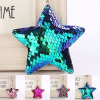 Wholesale jewelry mermaid ring - New Mermaid Scale Sequin Star Keychain Key Ring Holders Bag hangs Fashion Jewelry Gift Drop Shiping