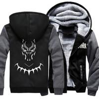 утолщенная толстоватая толстовка оптовых-Movie  Black Panther Hooded Fleece Thicken Hoodie Unisex Hoodies & Sweatshirts Hoody Jacket Coat US Size