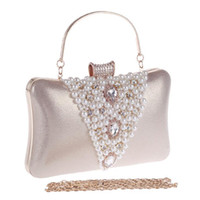 Wholesale silver beaded purse - New Arrival V Design Beaded Embroidery Women Evening Bags Rhinestones Lady Luxurious Handbags For Wedding Purse Clutches