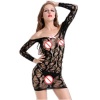 schwarz siehe unterwäsche großhandel-Sexy Dessous Black Lace Mesh Off-Schulter-Kleid Langarm V-Ausschnitt Sommerkleid intime Unterwäsche See Through Nightgown Sexy Clubwear
