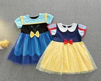 vestidos de alice no país das maravilhas venda por atacado-Nova princesa branca de neve menina vestido de Alice País Das Maravilhas crianças Halloween Traje 2 cores A07