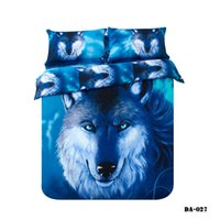 Wholesale Bedding Wolf Comforter - (3-7 piece) 100% Organic Cotton 3d wolf print bed sheets California king bedding set blue animal wolf bed linen fitted sheet set