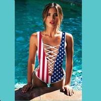 amerikanische flagge badeanzüge großhandel-Neue Mode Youthcare 3D Frauen Bademode American Flag Druck Badeanzug Badeanzüge Sexy Bikini für Mädchen Strand Kleidung