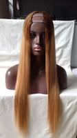 Wholesale u part wig ombre color online - Ombre Color T4 X3 X4 X4 Human Hair U Part Wigs Straight U Part Human Hair Wig Middle Part left Part Right Part For Black Women