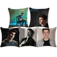 Wholesale music pillow cases - 8 Styles Shawn Mendes Cushion Covers Music Star Portrait Decorative Cushion Cover Home Decorative Linen Pillow Case For Sofa Couch