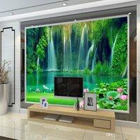 toile de paysage achat en gros de-Paysage Naturel 3D Trois Couleurs Murales Papier Peint Salon Grand Mur Sans Couture Mur Cascade Décor TV Fond Mur 18sp gg