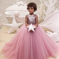 Wholesale Sparkling Red Wedding Dresses - Blush Pink Girls Pageant Dresses Sparkling Sequins Tulle Ball Gown Flower Girls Dresses Big Bow Wedding Holiday Party Dresses Backless
