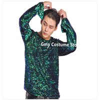 Wholesale club singer clothing for sale - R13 Men ballroom dance costumes stage performance wears outfits dj Sequin jacket singer clothe party dresses T shirt club show