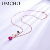 персонализированные серебряные украшения ручной работы оптовых-UMCHO 925 Sterling Silver Necklace For Women Personalized July Birthstone Nano Ruby Handmade Flower Jewelry