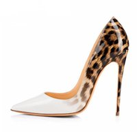 Wholesale sexy shoes leopard red online - Brand Women Pumps Leopard White Shoes Woman Red Bottom High Heels Stiletto Evening Shoes Women Patent Leather Sexy Designer Heels