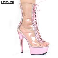botas de plataforma de tobillo claro al por mayor-Venta al por mayor Nueva Transparente Pink Boots Summer 15CM Extreme High Heels Clear Zip con cordones Peep Toe Plataforma PVC Mujer Botines