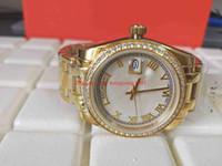 weißes glas mosaik großhandel-Heißer Verkauf Damenuhr 36MM 18946 weißes Zifferblatt Diamant-Mosaikgrenze Saphirglas 18K Gelbgold automatische Frauen beobachten Uhren