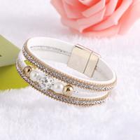 кожаные браслеты хрустальные шарики оптовых-2017  Boho Crystal Ball Beads Leather Bracelets Bangles Magnetic Multilayer Jewelry Pulsera For Women brazaletes pulseras