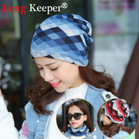 Long Keeper Women Casual Knitted Scarf Spring Autumn Hats Plaid Female Caps  Letter Printed Pile Lady Cap Beanies Wholesale gorro 3f813c5b6d75