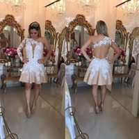 Wholesale free lovely picture resale online - Lovely One Shoulder Mini Short Homecoming Dresses Appliques Beaded Backless Cocktail Prom Party Dresses Graduation Dresses