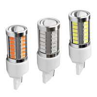 Wholesale turn bulb online - 2PCS T20 W21W WY21W smd LED Car Yellow Amber Turn Signal Bulb Red Brake light White Auto Reverse Lamps