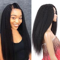 perruque en dentelle synthétique yaki achat en gros de-Longue perruque de cheveux Yaki Straight synthétique perruque avant de lacet pour les femmes Kinky Straight Natural Black Afro Kinky perruques