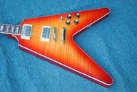 Wholesale string shaped guitar online - Factory Custom Cherry color Unusual Shaped Flying V Electric Guitar Rosewood Fingerboard Sliver Hardware Offer Customized