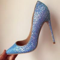 ingrosso 33 pompe delle scarpe di dimensioni-Donne libere di modo di trasporto Blue Glitter strass point toe scarpe tacchi alti scarpe col tacco alto pompe in vera pelle 10cm grande taglia size 33-43