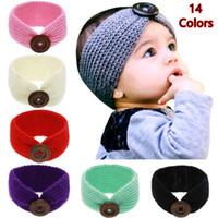 bebê de lã de crochê venda por atacado-New Baby Meninas Moda Lã Crochet Headband Knit Hairband Com Botão Decor Inverno Recém-nascidos Infantil Cabeça Ear Head Warmer 14 Cores KHA01