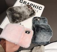 housse d'hiver iphone achat en gros de-Cas de fourrure de luxe hiver cheveux de lapin pour iPhone X XR XS Max poignet chaud à la main duveteux couverture cas pour iPhone 6 6s 7 8 Plus diamant
