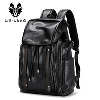 опрятные рюкзаки для колледжа оптовых-LIELANG Backpack Men Fashion Leather BackpacAnti-theft Bags Preppy Style College Teenager School Bag For 15.6 Inch Laptop