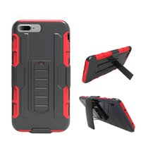 Wholesale protective holster belt - Armor Hybrid Case 3 in 1 Combo Holster Belt Clip Protective Defender Kickstand Phone Cover For iphone 6 7 plus With Opp Bag