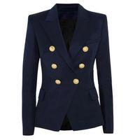 chaquetas cruzadas para mujer al por mayor-La nueva manera 2017 Diseñador chaqueta de la chaqueta de las mujeres de doble botonadura de metal León Botón Blazer Exteriores
