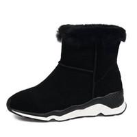 zapato de invierno frío al por mayor-RizaBina frío invierno nieve zapatos mujeres piel real de cuero caliente dentro de tobillo botas mujeres plataforma gruesa invierno Botas tamaño 34-39