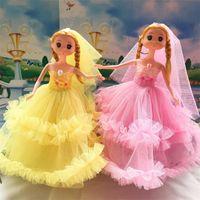 Wholesale 12 month birthday dresses - Fashion The Wedding Supplies Wedding Dress Lace Ddung Birthday Party Adornment Toys PVC Creative Barbie Doll 7 2sg W