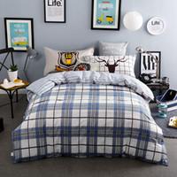 juegos de cama queen para niños al por mayor-100% Algodón Azul gris Plaid Beddings Juegos de Sábanas de Raya Niños / Adultos 4 / 5PC Edredón Cubierta 400TC Completo Queen Sizes Deer Pillow Sham