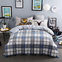Wholesale queen size beddings online - 100 Cotton Blue Grey Plaid Beddings Stripe Bed Sheet Sets Boys Adults PC Quilt Cover TC Full Queen Sizes Deer Pillow Sham