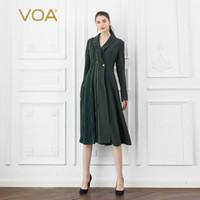 kühlen graben groihandel-VOA Heavy Silk Armee Grün Trenchcoat Frauen Cool Mantel Damen Herbst Langarm Oberbekleidung Tunika Large Size Retro F326