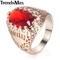 Wholesale 585 ring - Trendsmax Red Rhinestone CZ Women's Wedding Band Ring 585 Rose Gold Color 19mm Trendy Jewelry Gift for Women KGR39