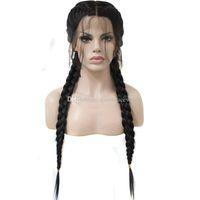 cosplay peruk uzun siyah düz saç toptan satış-Çift Örgüler Siyah Sentetik Örgülü Dantel Ön Peruk Uzun Düz Bebek Saç Isıya Dayanıklı Cosplay Örgülü Peruk Siyah Kadınlar için