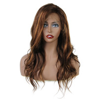 Wholesale brazilian wavy long human hair online - Highlight Color Lace Front Human Hair Wigs With Baby Hair Wavy Brazilian Remy Hair Lace Front Wigs Pre Plucked Hairline