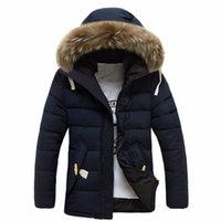 Wholesale fur winter jackets for men - Winter Thick Warm Cotton Hooded Plus Size Jacket For Men Faux Fur Collar Zipper Long Sleeve Overcoat Chaquetas Hombre M-3XL