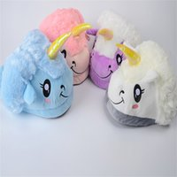 Wholesale free slippers online - Unicorn Plush Cartoon Slippers Winter Warm Soft Parents Kids Indoor Home Shoes Blue Pink Purple White Skidproof Slipper jy hh